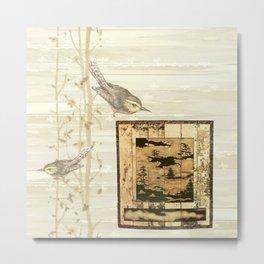 Bird On Screen Metal Print