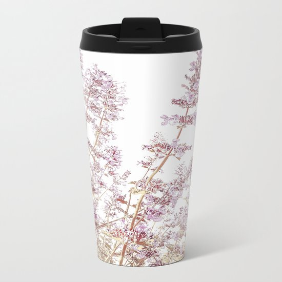 Soft Pink Wild Summer Flowers Metal Travel Mug