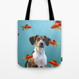Jack Russel Dog with Goldfishes Tote Bag