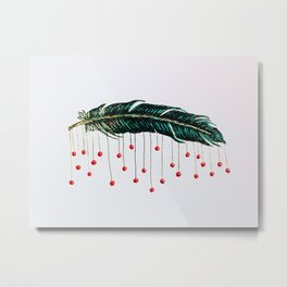 Feather with baubles Metal Print