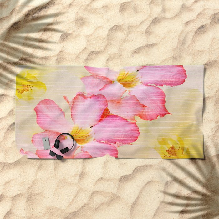Desert Rose and Orchids  Beach Towel