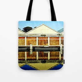 Reflections of a old boat Shed Tote Bag