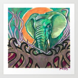 Elephant abstract in watercolor Art Print