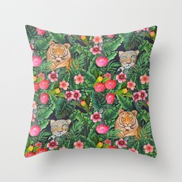 Leopard and tiger jungle floral Throw Pillow