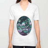 mythology V-neck T-shirts featuring Mermaid Siren Pearl of atlantis mythology by Scott Jackson Monsterman Graphic