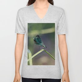 Green dragonfly laid on a leaf on a sunny day Unisex V-Neck