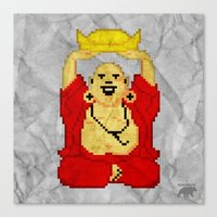 8bit Canvas Prints featuring Buddha (8bit) by Grizzly Logo