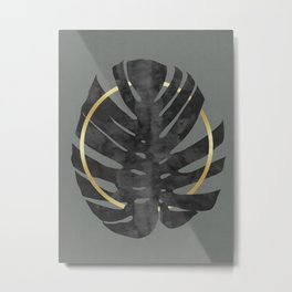 Monstera deliciosa with gold I Metal Print