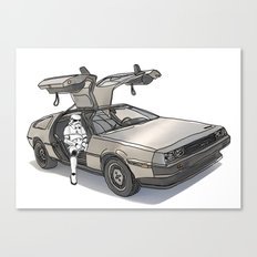 Stormtroooper in a DeLorean - star wars Canvas Print