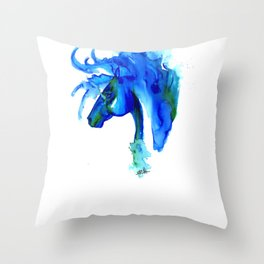 Blue Horse in ink Throw Pillow