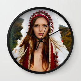 2668 Nude Serenity ~ Surxposed ~ Girl in Classic Indian Headdress Costume Wall Clock