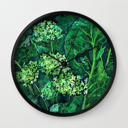 Hydrangea and Horseradish, black and green Wall Clock