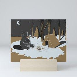 Toasty Bear Campsite Chrome Mini Art Print