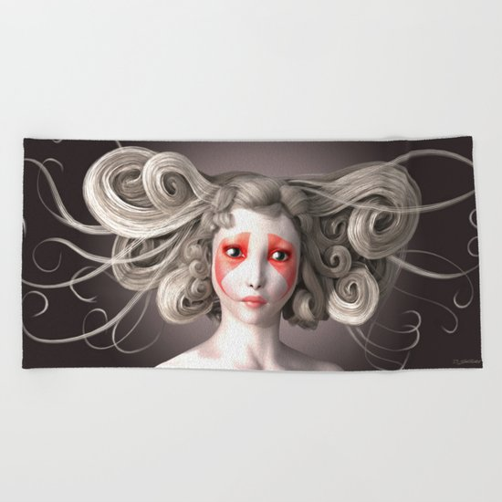 Japanese fashion model Beach Towel