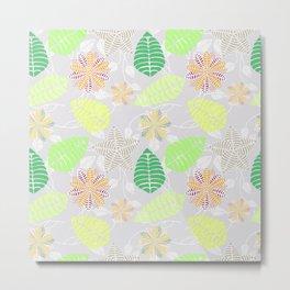Colorful Tropical Floral Leaf Pattern Metal Print