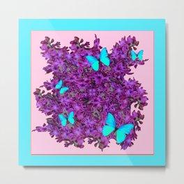 Purple Hyancinths Blue Butterrflies Patterns Metal Print