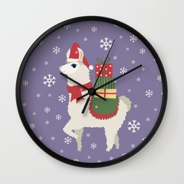 Cute Christmas Llama Wall Clock