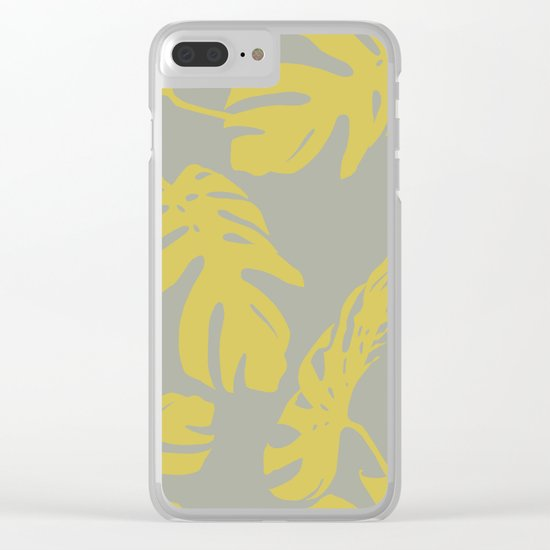 Simply Mod Yellow Palm Leaves on Retro Gray Clear iPhone Case