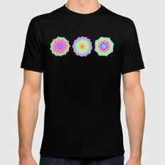 Psychedelic Summer Black Mens Fitted Tee LARGE