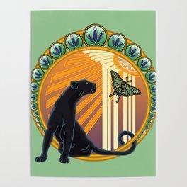 Jaguar Flowers Art Deco Poster