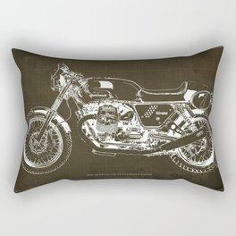 2010 Moto Guzzi V7 Clubman Racer brown blueprint Rectangular Pillow