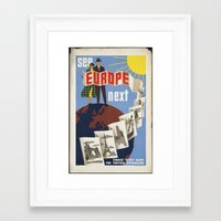 europe Framed Art Prints featuring EUROPE by Kathead Tarot/David Rivera
