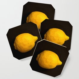 Yellow Lemon On A Black Background #decor #society6 Coaster
