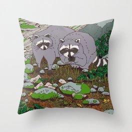 Raccoons & Blackberry Throw Pillow