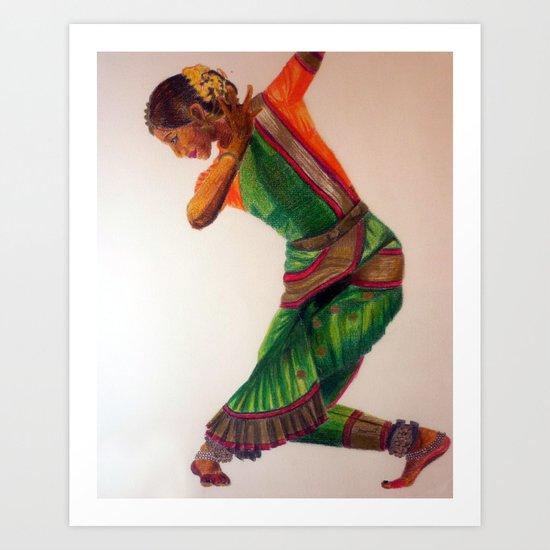 INDIAN DANCE - colour pencil Art Print