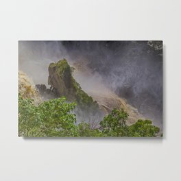 Rock showing in the waterfall Metal Print
