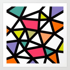 White lines & colors pattern #2 Art Print