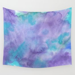 Violet Purple Teal Green Abstract Watercolor Wall Tapestry
