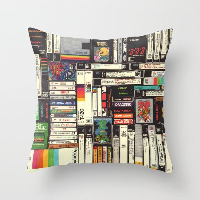 Cassettes, VHS & Atari Throw Pillow