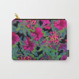 vivid pink petunia on black background Carry-All Pouch