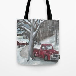 Winter-time Truck Tote Bag