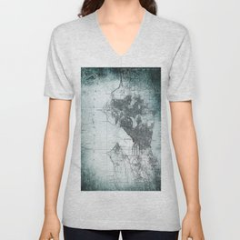 Vintage Seattle City Map Unisex V-Neck