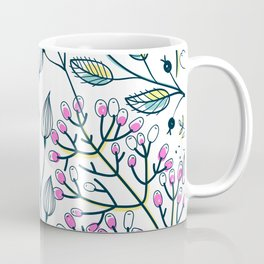 Pink and Green Ditsy Floral Hipster Chic Spring Blooming Flowers Coffee Mug