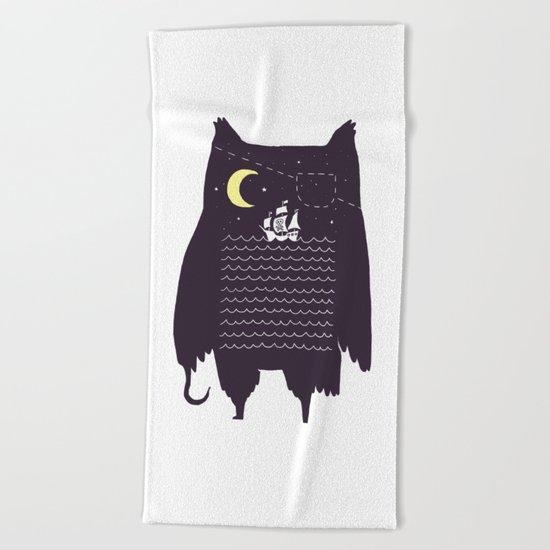 Pirate owl Beach Towel