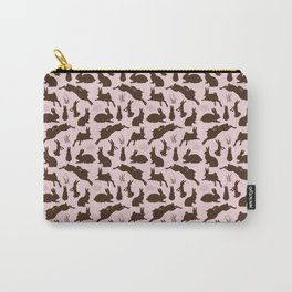 Rabbit Pattern | Rabbit Silhouettes | Bunny Rabbits | Bunnies | Hares | Pink and Brown | Carry-All Pouch