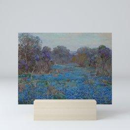 Field of Bluebonnets with Trees by Julian Onderdonk Mini Art Print