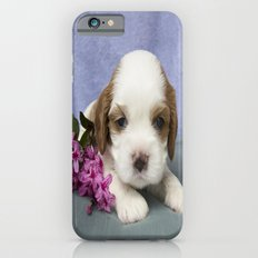 Puppy with flowers iPhone 6s Slim Case
