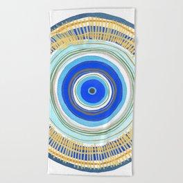 Turquoise Evil Eye Mandala Beach Towel