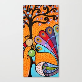 Mexican Tree of Life Peacock Painting by prisarts Canvas Print