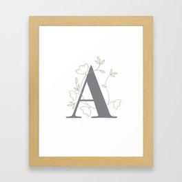 'A' Flower Illustration Framed Art Print