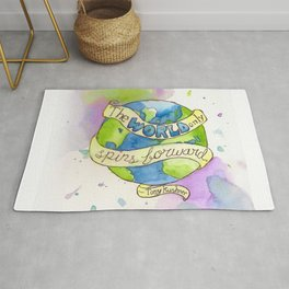 The World Only Spins Forward Rug