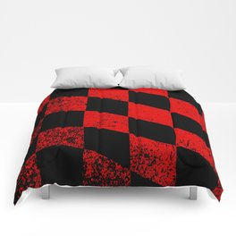 Red Dirty Chequered Flag Comforters
