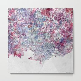 Montevideo Map Metal Print