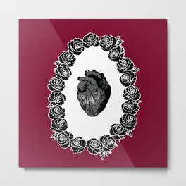A Barricade of Roses - Red Metal Print