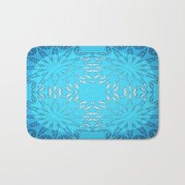 Turquoise Blue Color Burst Floral Bath Mat