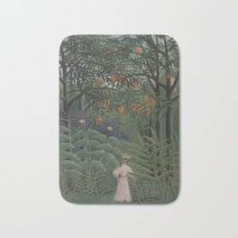Woman Walking in an Exotic Forest Bath Mat